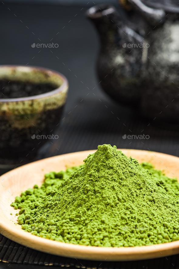 Organic matcha tea powder, oriental tea - Stock Photo - Images