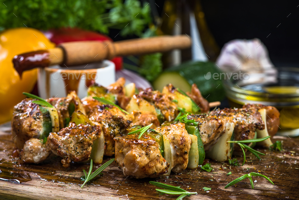 Grilled food with herbs, summer menu - Stock Photo - Images