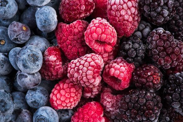 Frozen blackberry,raspberry and blueberry fruints - Stock Photo - Images