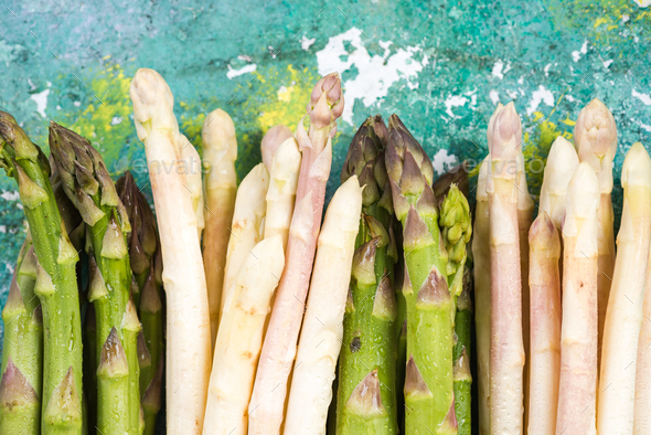 Green and white asparagus, top close view - Stock Photo - Images