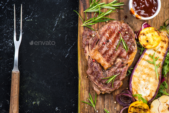 Grilled meal menu template copy space - Stock Photo - Images