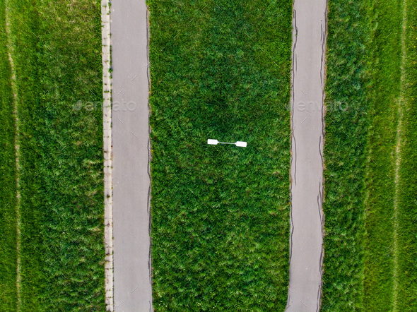 Rural road in fields,aerial view, top down - Stock Photo - Images