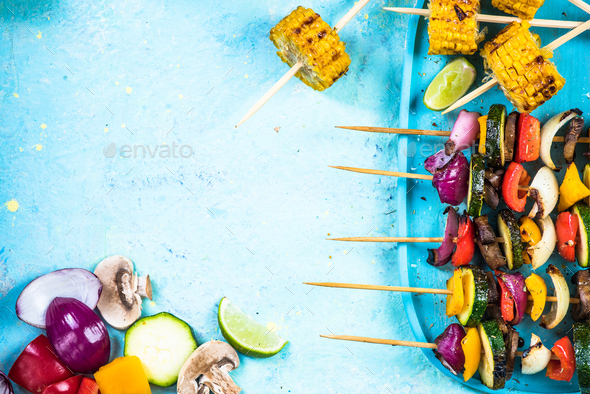 Grilled skewers, vegetarian restaurant menu template - Stock Photo - Images