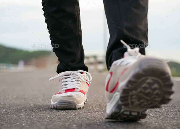 Close up of girl shoes walking-5 - Stock Photo - Images