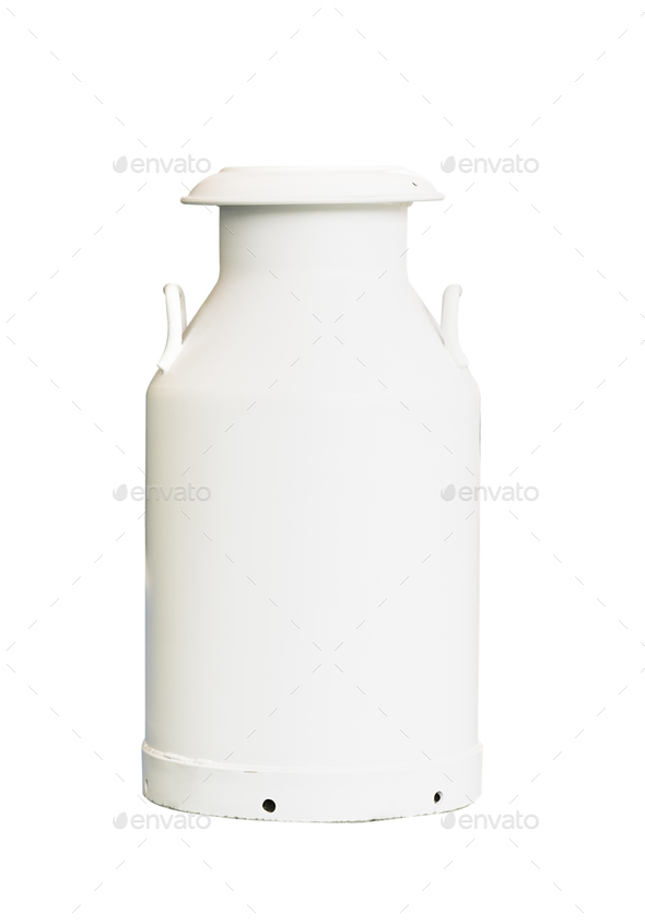 Milk can isolated on white - Stock Photo - Images