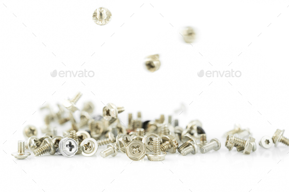 Old screws on the white background-7 - Stock Photo - Images