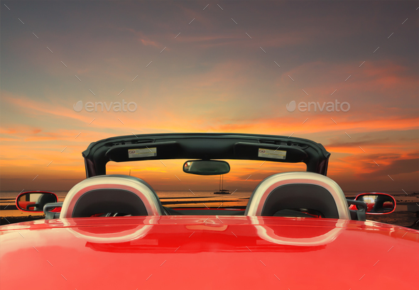 Red car with twilight background - Stock Photo - Images