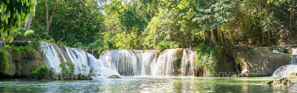 Panorama Chet Sao Noi waterfall in national park_-3 - Stock Photo - Images