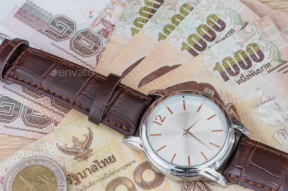 Watch and banknote-2 - Stock Photo - Images