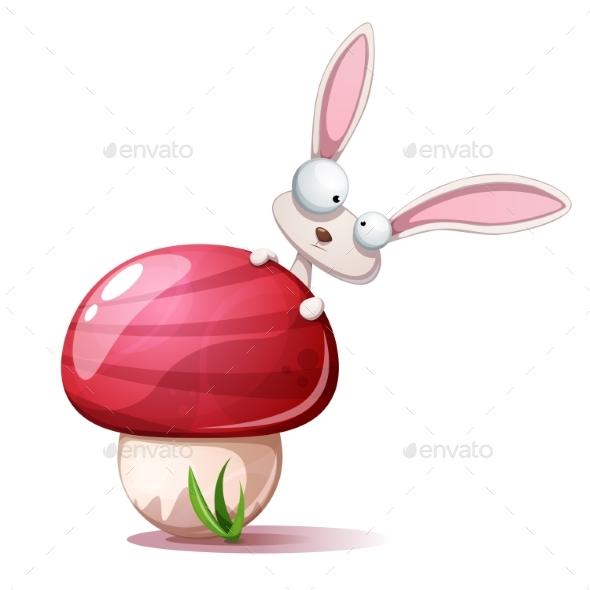 Cartoon Rabbit and Mushroom - Animals Characters