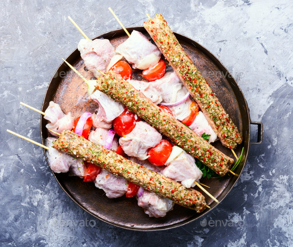 Marinated pork kebab on stick - Stock Photo - Images