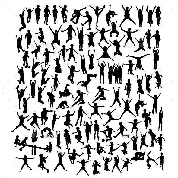 Happy Kid Silhouettes - People Characters
