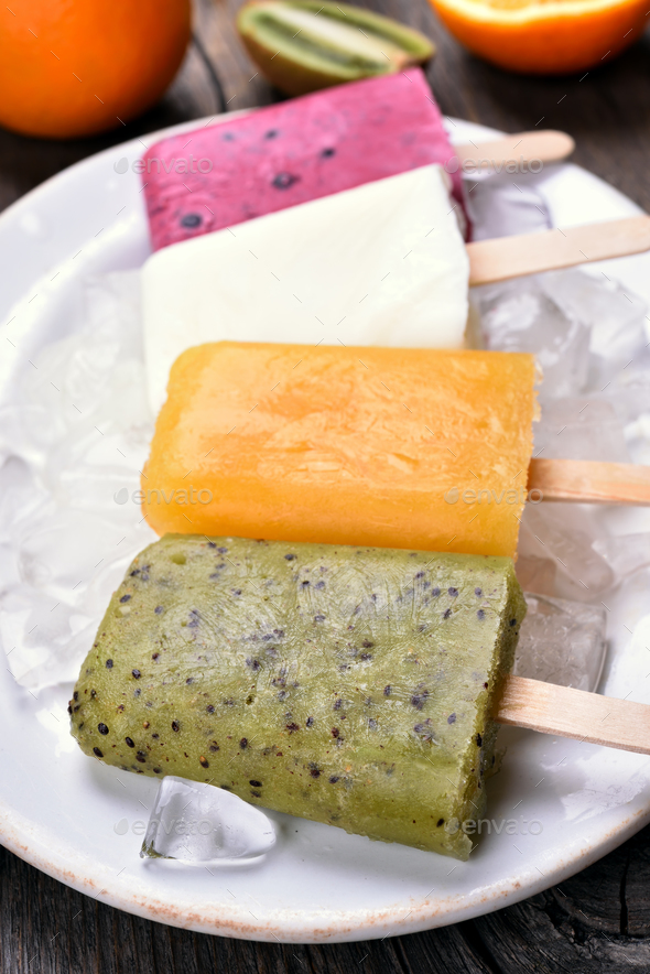 Popsicles from fruits - Stock Photo - Images