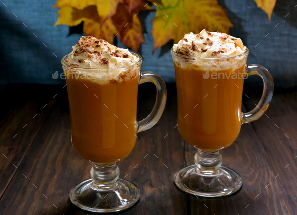 Pumpkin latte with whipped cream - Stock Photo - Images