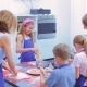 Adult Woman Holds a Master Class for Children, How To Make a Dough. Child Mixes the Flour  - VideoHive Item for Sale