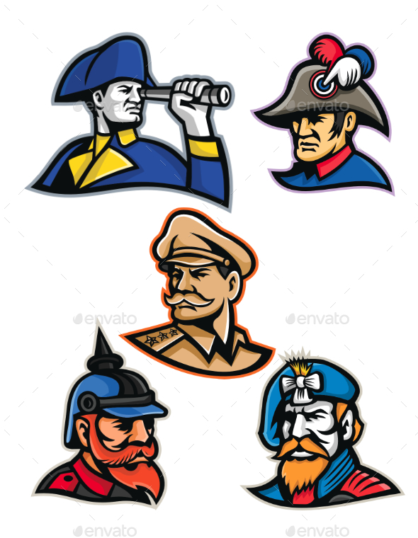 Generals, Admirals and Emperor Mascot Collection - People Characters