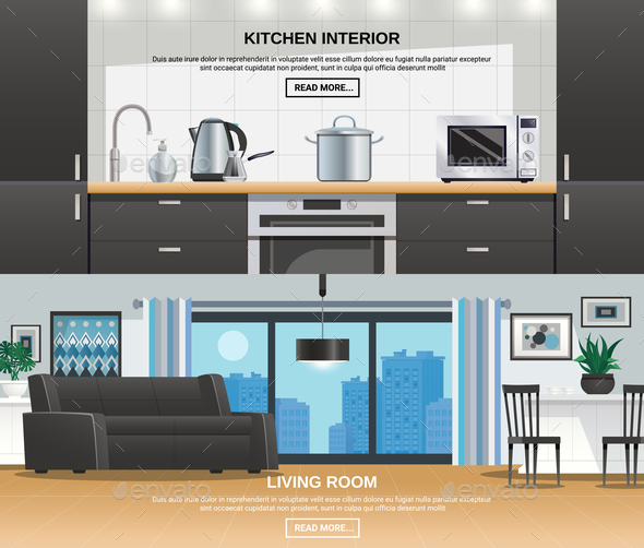 Modern Kitchen Interior Design Banners - Miscellaneous Vectors