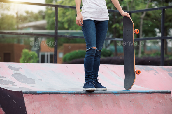Skateboarder at skatepark - Stock Photo - Images