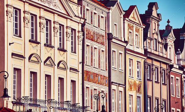 Houses facades at Poznan Old Market Square, Poland. - Stock Photo - Images