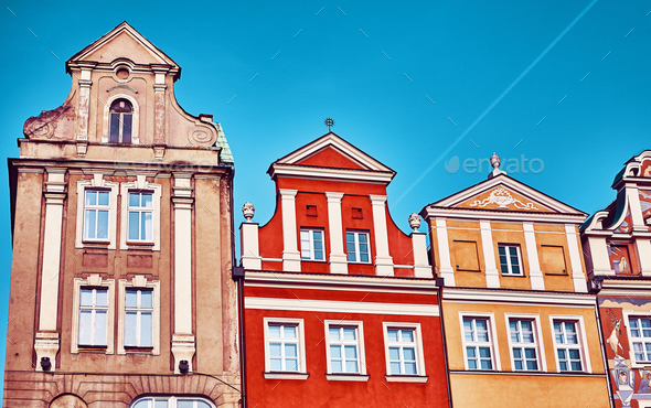 Houses at Poznan Old Market Square, Poland. - Stock Photo - Images