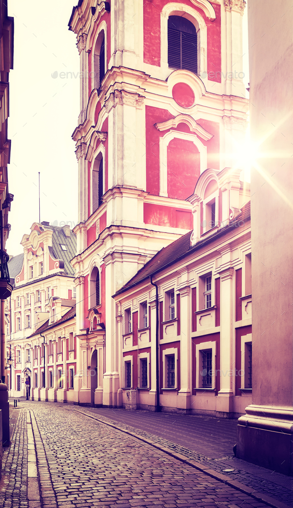 Poznan Old Town at sunrise, Poland. - Stock Photo - Images