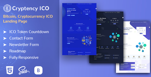 Image of Cryptency ICO - Cryptocurrency and Bitcoin responsive landing page template