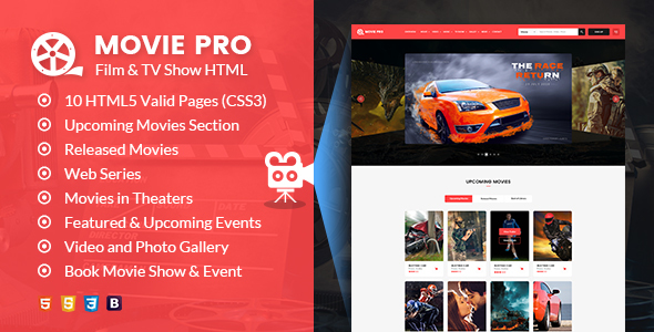 Image of Movie Pro - Film and TV Show HTML Template