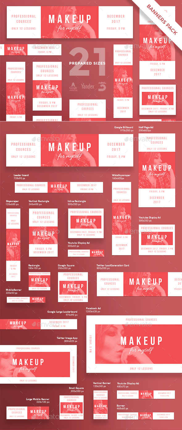 Makeup Courses Banner Pack - Banners & Ads Web Elements