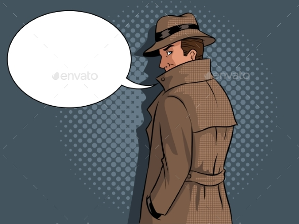 Spy in Raincoat and Hat Pop Art Vector - Miscellaneous Vectors