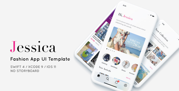 Jessica, Fashion App UI Template - Programmatically - CodeCanyon Item for Sale
