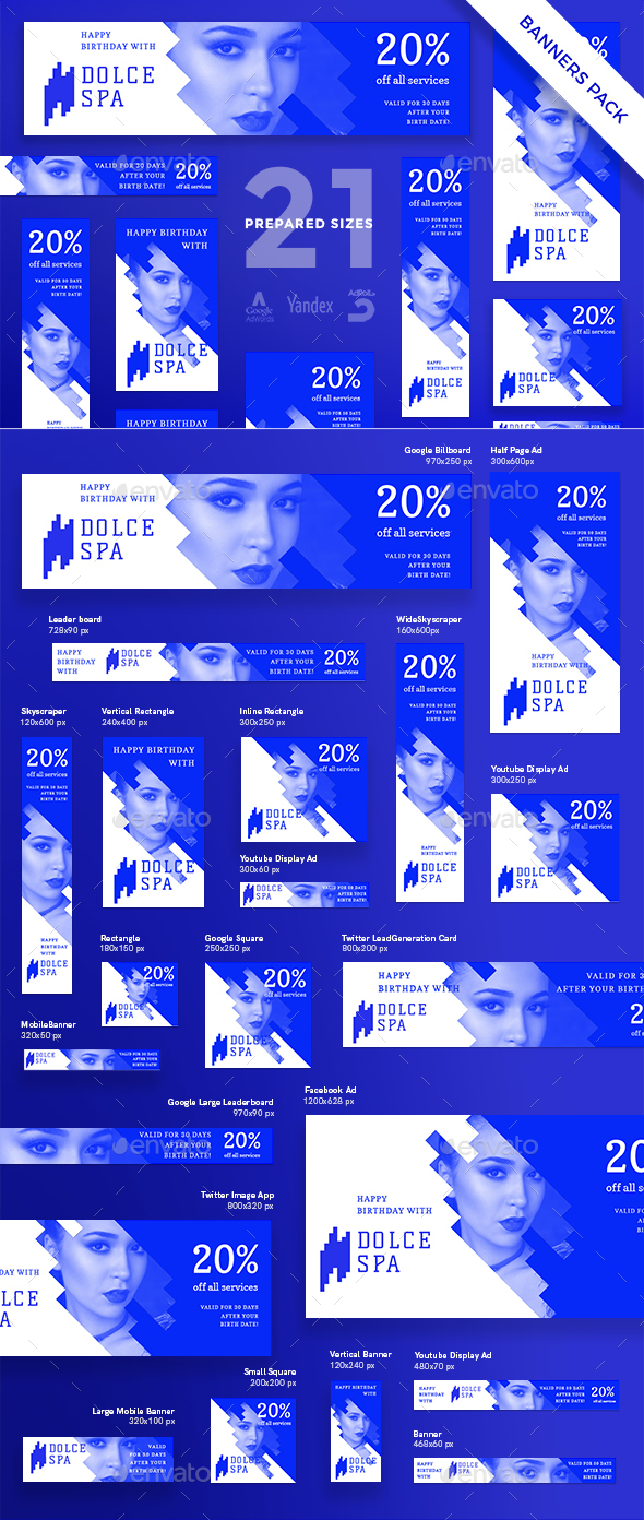 Spa Salon Services Banner Pack - Banners & Ads Web Elements