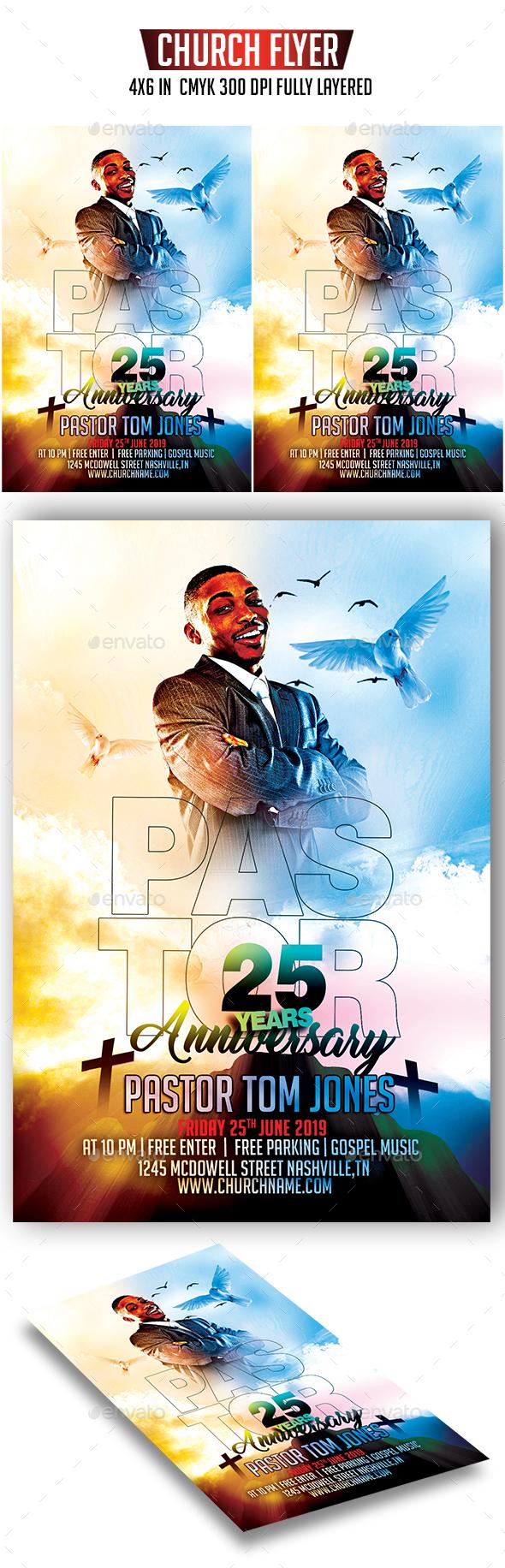 Pastor Anniversary Flyer - Church Flyers