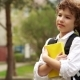Portrait of a Schoolboy with a Book in His Hands - VideoHive Item for Sale