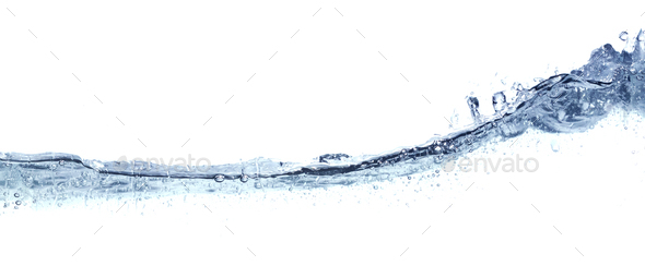 Clear wavy water isolated on white. - Stock Photo - Images