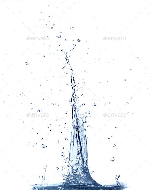 Clear water splashing. Isolated on white background. - Stock Photo - Images