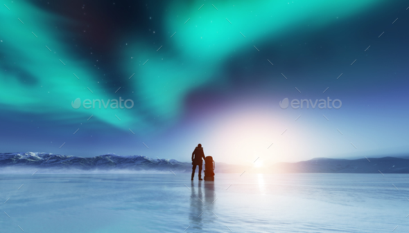 Adventurous man standing with a backpack, looking at aurora. - Stock Photo - Images