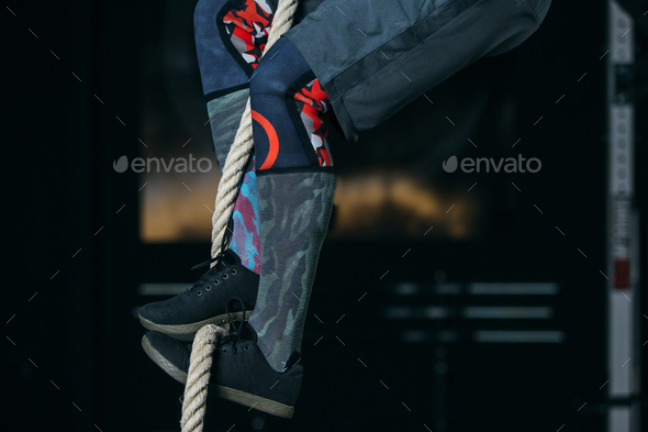 Rope climb exercise. Feet position - Stock Photo - Images