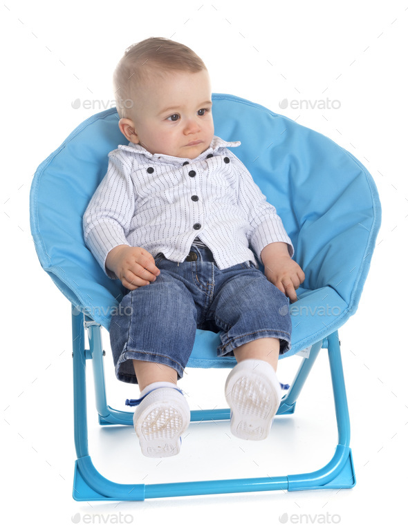 baby in chair - Stock Photo - Images