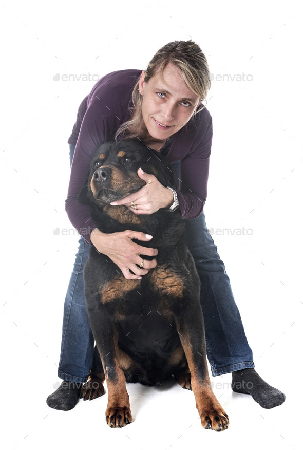 woman and rottweiler - Stock Photo - Images