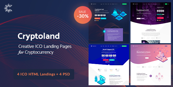 Cryptoland - ICO Landing Pages & Cryptocurrency HTML Pack - Landing Pages Marketing