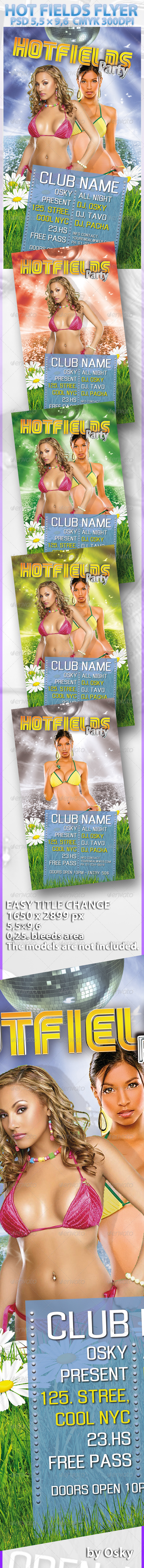 Hot Fields Flyer - Clubs & Parties Events
