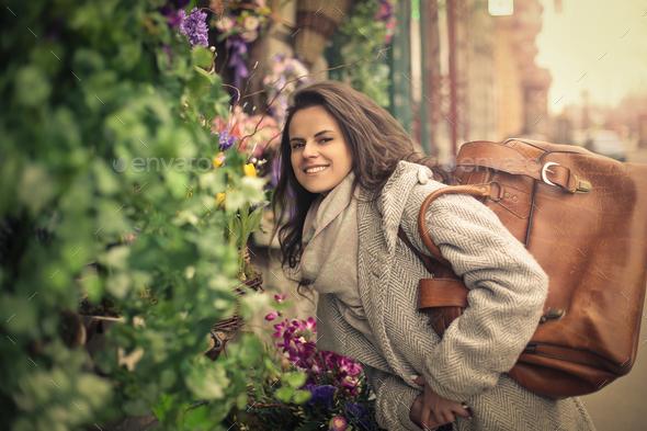 Woman near a plant shop - Stock Photo - Images