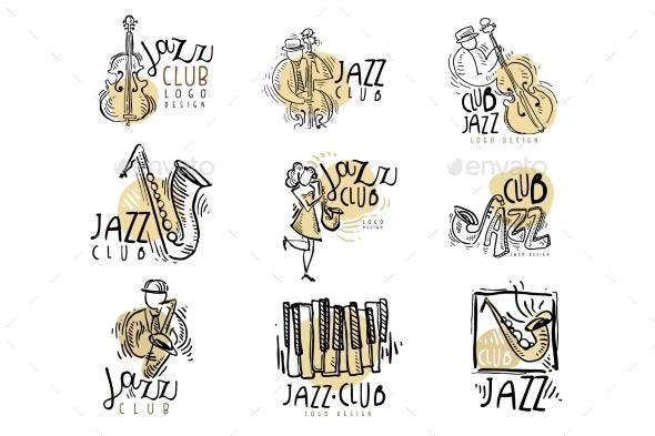 Jazz Club Labels Set - Decorative Symbols Decorative