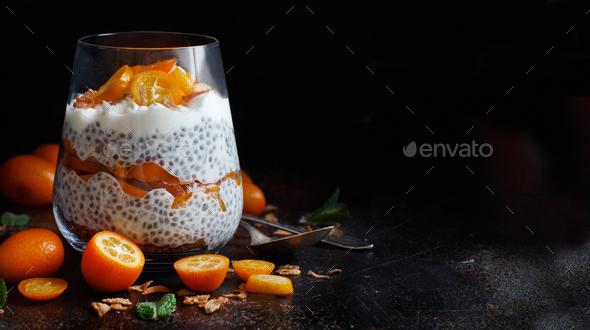 Chia pudding parfait with kumquat - Stock Photo - Images