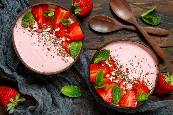 Strawberry smoothie bowls - Stock Photo - Images
