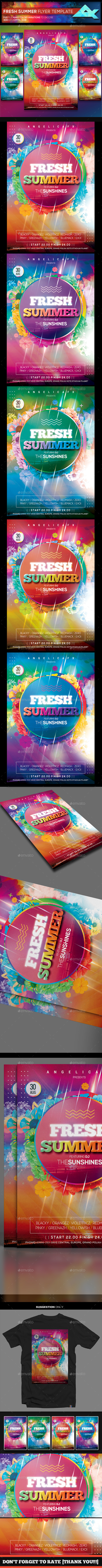 Fresh Summer Photoshop Flyer Template - Flyers Print Templates