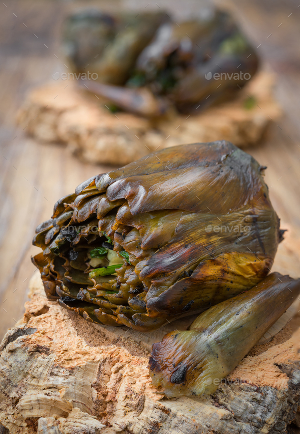 Artichokes roasted on the grill - Stock Photo - Images