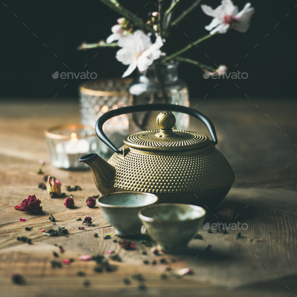 Traditional Asian tea ceremony arrangement over wooden background, square crop - Stock Photo - Images