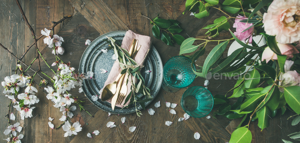 Flat-lay of Table setting with spring flowers - Stock Photo - Images