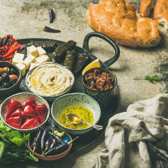 Mediterranean meze starter fingerfood platter, square crop - Stock Photo - Images